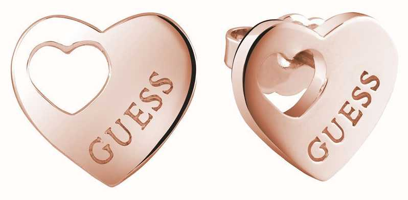 Guess Womans Heart Devotion Cut Out Heart Studs Rose Gold UBE82041