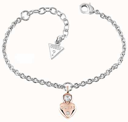 Guess Womans Guessy Little Heart Charm Bracelet Rose Gold UBB82014-L
