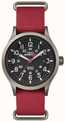 Timex Mens Scout Black Dial Red Fabric Strap TW4B04500