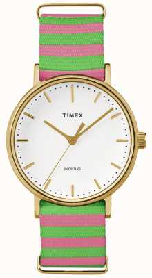 Timex Womans Weekender Fairfax Pink Green Strap TW2P91800