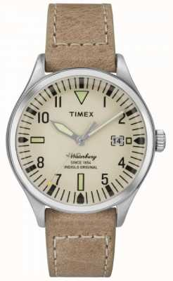 Timex Unisex The Waterbury Cream Dial Beige Strap TW2P84500