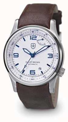Elliot Brown Mens Tyneham Brown Leather White Dial Display Caseback 305-D04-L14