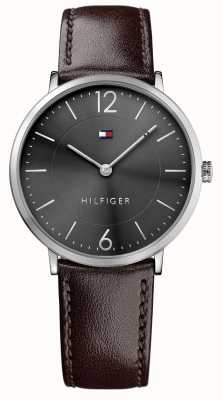 Tommy Hilfiger Mens James Brown Leather Strap Black Dial 1710352