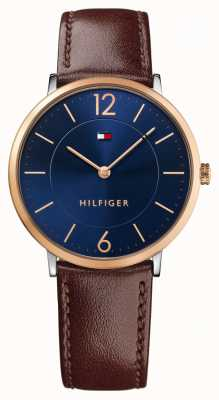 Tommy Hilfiger Mens James Brown Leather Strap Blue Dial 1710354