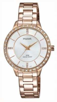 Pulsar Womens Rose Gold Tone Stainless Steel Silver Dial PH8220X1