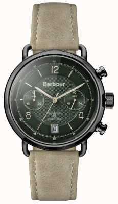Barbour Mens Salisbury Khaki Leather Strap Green Dial BB053GRKH