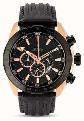 Festina Mens Rose Gold Case Black Dial Black Leather Strap Chrono F16900/1