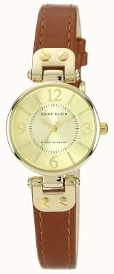 Anne Klein Womens Brown Leather Strap Gold Tone Case 10/N9442CHHY