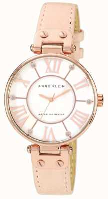 Anne Klein Womens Pink Leather Strap Cream Dial 10/N9918RGLP