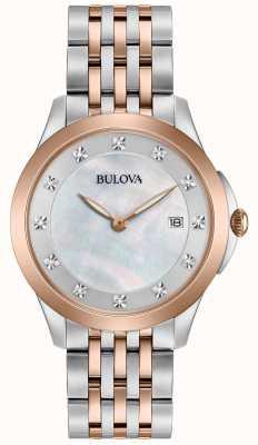 Bulova Womans Rose Plated Two Tone Diamond 98S162