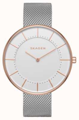Skagen Ladies Silver Mesh Rose Gold Border Skagen SKW2583