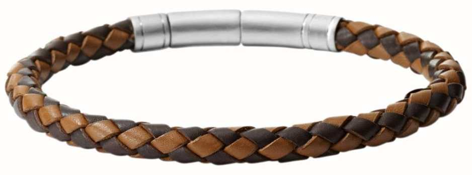 Fossil Mens Leather Stainless Steel Bracelet JF00509797
