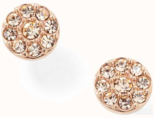 Fossil Womens PVD Rose Gold Plated Stone Set Stud Earrings JF00830791
