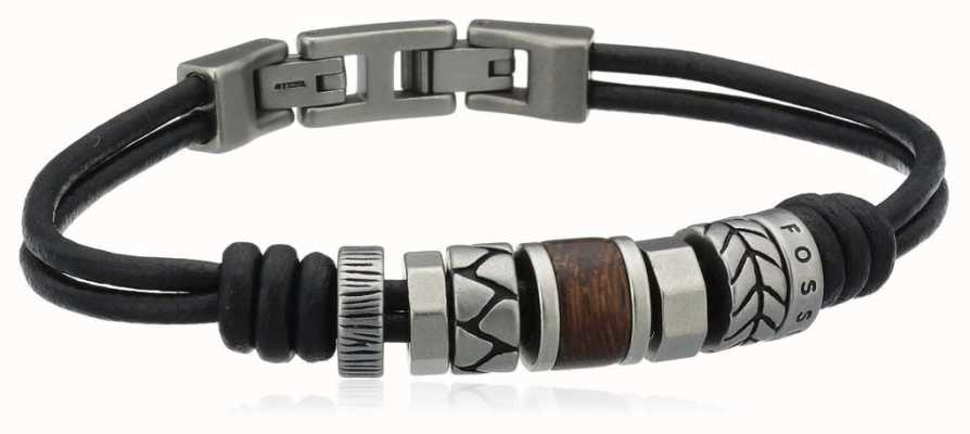 Fossil Mens Leather Stainless Steel Bracelet JF84196040