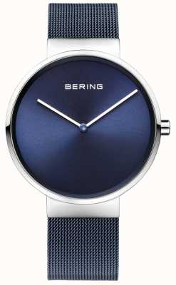 Bering Unisex Blue Iron Plated Steel Mesh Strap 39mm 14539-307