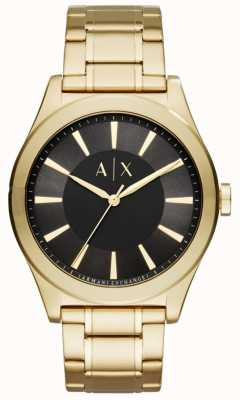 Armani Exchange Mens Gold tone Stainless steel Black Dial AX2328