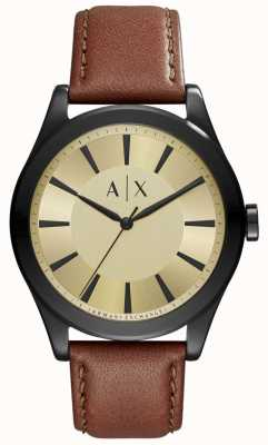 Armani Exchange Mens Brown Leather Gold Coloured Dial AX2329