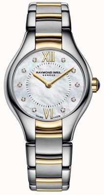 Raymond Weil Womans Noemia Two Tone 10 Diamond Mother Of Pearl Dial 5124-STP-00985