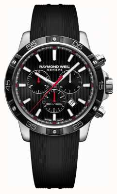 Raymond Weil Mens Tango 43mm Black Chronograph Black Rubber Strap 8560-SR1-20001