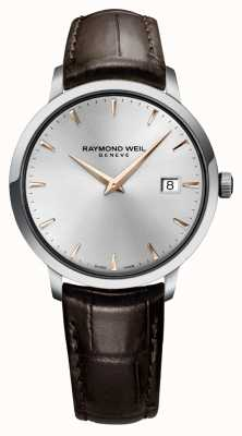 Raymond Weil Mens Slim Silver Brown Leather Strap 5488-SL5-65001