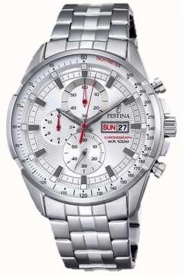 Festina Mens Chronograph Stainless Steel Bracelet Silver Dial F6844/1