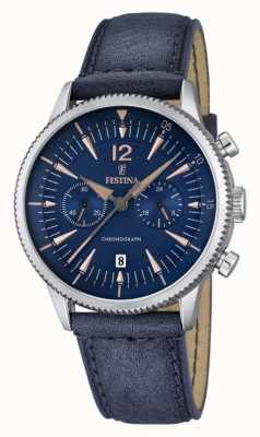 Festina Festina Mens Blue Chrono, Blue Leather F16870/2