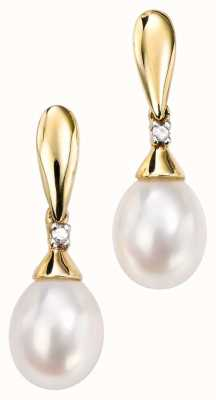 Elements Gold 9k Yellow Gold Diamond Pearl Drop Earrings GE780W