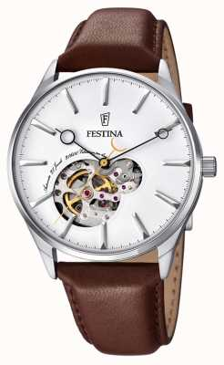 Festina Mens Automatic Brown Leather Strap White Dial F6846/1