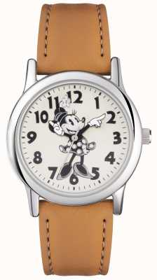 Disney Adult Minnie Mouse Silver Case Tan Strap MN1550