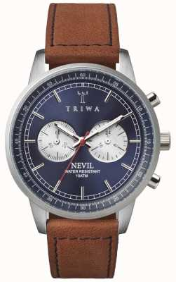 Triwa Mens Blue Steel Nevil Chronograph Brown Leather NEST108-SC010216