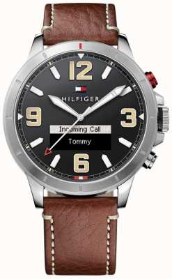 Tommy Hilfiger TH 24/7 Smartwatch Brown Leather Strap Black Dial 1791296