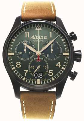 Alpina Mens Startimer Pilot Chronograph Quartz AL-372GR4FBS6