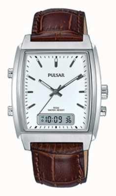 Pulsar Gents Brown Leather Analogue/digital Watch PBK033X1