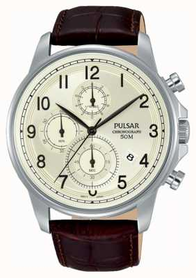 Pulsar Gents Brown Leather Cream Dial Chrono Watch PM3071X1