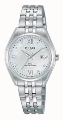 Pulsar Ladies Stainless Steel Crystal Set Pearl Dial PH7453X1