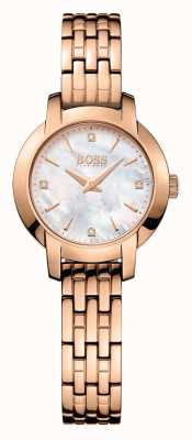 Hugo Boss Womens Success Rose Gold Plated Mother Of Pearl Dial 1502379