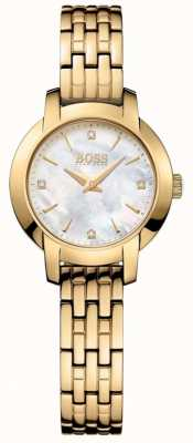 Boss Womens Success Gold Plated Mother Of Pearl Dial 1502381