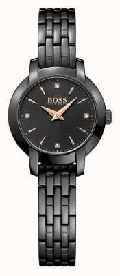Hugo Boss Womens Success Black Plated Steel Bracelet Black Dial 1502387