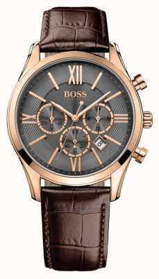 Hugo Boss Mens Ambassador Brown Leather Strap Grey Dial 1513198