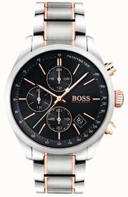 Boss Mens Grand Prix Stainless Steel Bracelet Black Dial 1513473