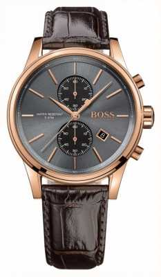Hugo Boss Mens Jet Brown Leather Strap Grey Dial 1513281