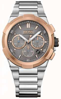 Hugo Boss Mens Supernova Stainless Steel Bracelet Grey Dial 1513362