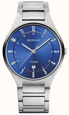 Bering Mens Titanium Grey Strap Blue Dial watch EX-DISPLAY 11739-707EX-DISPLAY