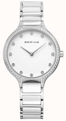 Bering Ladies White Ceramic Zirconia Set Watch 30434-754