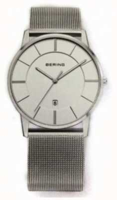 Bering Mens Classic Mesh Strap White Dial Watch 13139-000