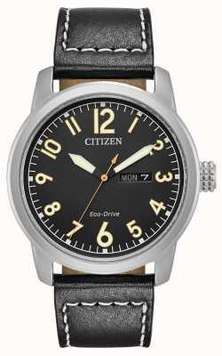Citizen Mens Eco Drive Black Leather Chandler BM8471-01E