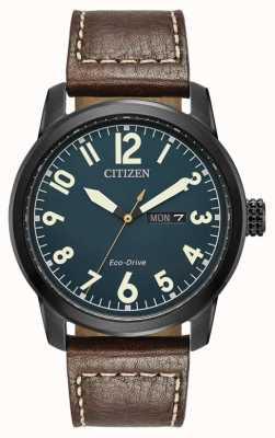 Citizen Mens Eco Drive Brown Leather Chandler BM8478-01L
