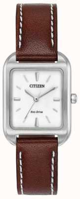 Citizen Womans Eco-Drive Silhouette Brown Leather EM0490-08A