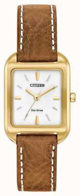 Citizen Womans Eco-Drive Silhouette Tan Leather EM0492-02A