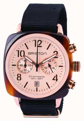 Briston Mens Clubmaster Classic Acetate Chrono Rose Gold 14140.PRA.T.6.NB